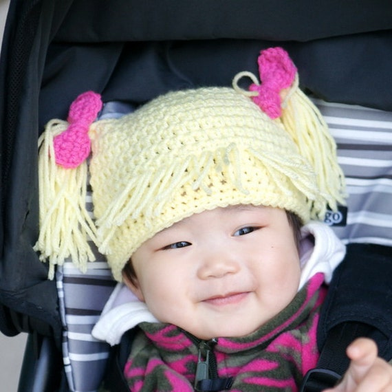 Cabbage Patch Kids Hat Blond hair pigtails hat Crochet Baby