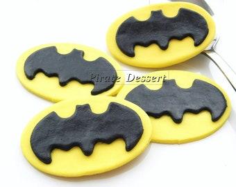 Edible Cupcake Toppers BAT MAN Logo -  Iconic Super Hero decorations, Bat Man Cupcake - COMIC BooK Cupcakes (6 pieces)