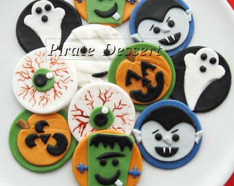 edible halloween cupcake toppers monsters fondant cake decorations halloween cupcakes 12 pieces - Cupcake Decorations For Halloween