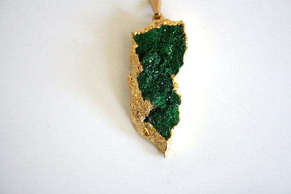 Uvarovite Necklace. Emerald Green Druzy Dipped in 24K Gold