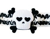 Halloween Skull And Crossbone Pirate Soft & Stretchy Headband Baby Infant Toddler Girls
