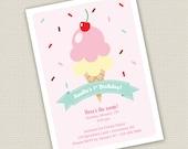 Printable Ice Cream Birthday Invitation