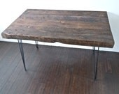 reclaimed wood desk or table with hairpin legs