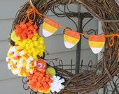 Fall Vine Wreath/Halloween/Candy Corn Banner/Felt Flowers