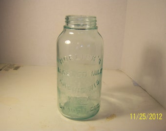 1920's Horelick's Malted Milk Racine Wis London, Eng  Aqua Ground Lip food jar  6 7/8 inch tall No 3