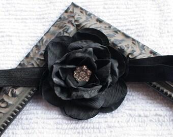 ON SALE, Black Headband, Black Hair Clip, Black Flower Headband or Hair Clip, Newborn Headband, Infant, Baby Headband, Girl and Adult
