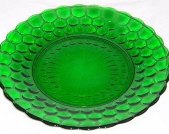 Anchor Hocking Fire King Green BUBBLE 9 3/8 Inch Dinner Plate