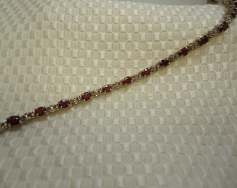 Ruby and Sapphire Bracelet in Sterling Silver  #452