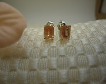Emerald Cut Sunstone Earrings in Sterling Silver