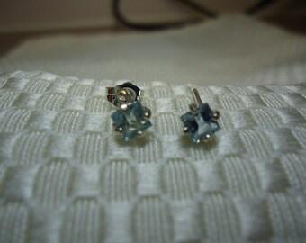 Princess Cut Aquamarine Earrings in Sterling Silver   #797