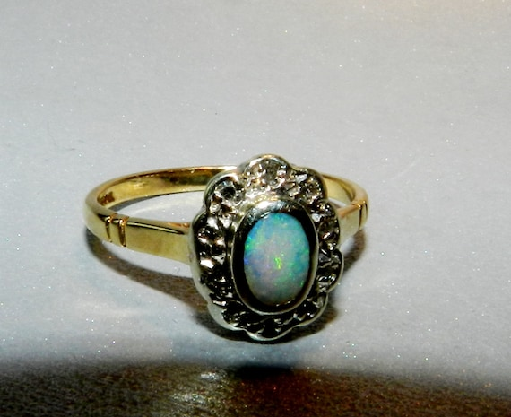 Natural Black Opal Ring, Gold and Diamonds, 9 K 375 Gold, Size 6.5