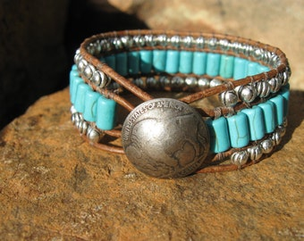 Turquoise and Leather Cuff Bracelet, Western Jewelry