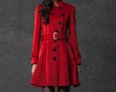Belted Red Coat - Asymmetrical Button Closure Short Length Jacket with Pockets -  Christmas Gift -(C797)