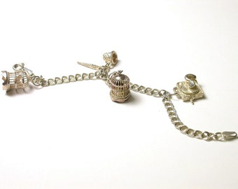 Sterling Silver Vintage Charm Bracelet - Bird Cage, Sewing Scissors, Thimble, Record Player