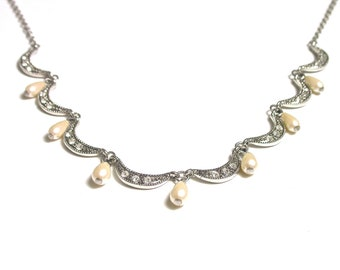 Vintage Necklace -  Holiday Costume Mock Pearls and Rhinestones Necklace - 18 Inches Long # 951