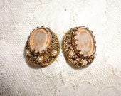 VINTAGE cameo clip on earrings made in germany*