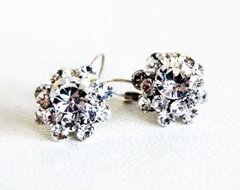 art deco clear crystal swarovski rhinestone tibetan silver plated earrings wedding jewelry bridal jewelry bridesmaids jewelry gifts