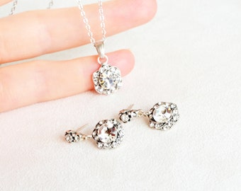 art deco clear crystal swarovski rhinestone tibetan silver plated necklace earrings wedding jewelry bridal jewelry bridesmaids jewelry set