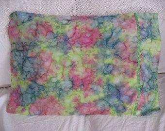 Batik Novelty PillowcaseLime, Pink and Teal