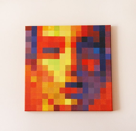 Items Similar To Abstract Woman Pixel Face Multi Colored