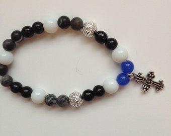 Men's Stretch Black, Blue and White Beaded Spiritual Bracelet, Faith Jewelry, Rosary Beaded Bracelet, Charm Bracelet