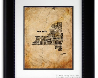 Christmas gift for him Family Christmas, Gift for Men NEW YORK State map, New York Map Cities & Towns - Unique Typography Print, size 11x14