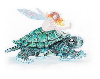 Blue Turtle and Fairy - Photo Matte Print