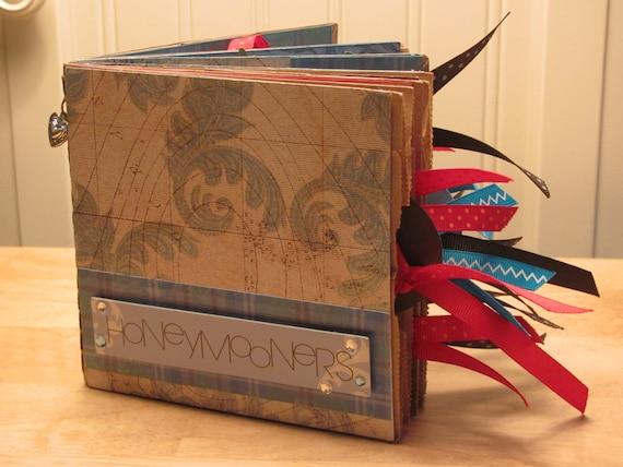 Free Shipping Honeymoon - Bridal Shower - Wedding - Paper Bag Scrapbook - Mini Album - Brag Book - Photo Holder - Memory Book