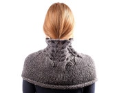 Grey Knit Scarf / Chunky Cowl / Alpaca Over the Shoulder Neckwarmer / Charcoal Infinity Scarf / Tube Wrap/ Under 50/ Gift europeanstreettean - LikeFreja
