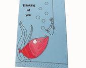 Funny Thinking of You Card, Handmade Cartoon Fish Card, 3D Greeting Card