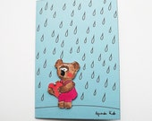3D Sad Bear Autumn Card, Rain Card, Miss You Handmade Card, Love Card,Thinking of You Card - aagoodmoments