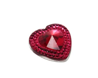 6  pink Rhinestone Heart shaped Flat back Cabochon Cabs