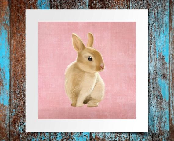 Mr Bunny print, bunny poster 8x8 small rabbit print gift funny gift print portrait wall art print wall decor kids children illustration