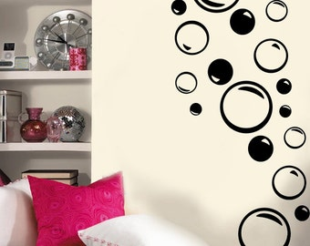 Set of 18 Vinyl Wall Decal Bubbles - Various sizes