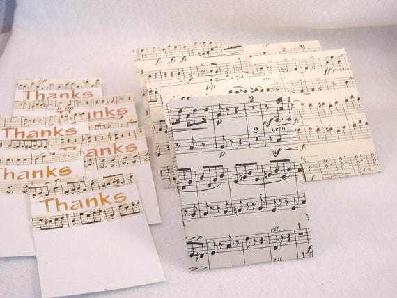 6 Thanks Decorated Cards & Matching Envelopes - Repurposed Music Score Paper, Stenciled