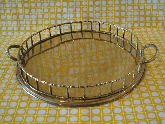 Large Round Faux Bamboo Brass Gallery Tray - Serving Tray - Chinoiserie Chic Vintage Hollywood Regency