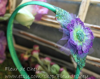 Green Headband w/ Glittered Purple & Green Daisy- Handmade Floral Headpiece