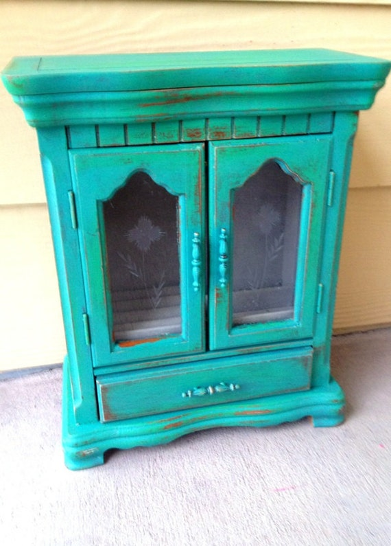 Vintage Distressed Turquoise Jewelry Box with Drawer