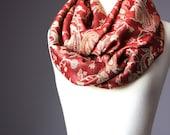 Pashmina Infinity Scarf  silk  Floral pashmina paisley   autumn color  soft fall red golden tones metallic
