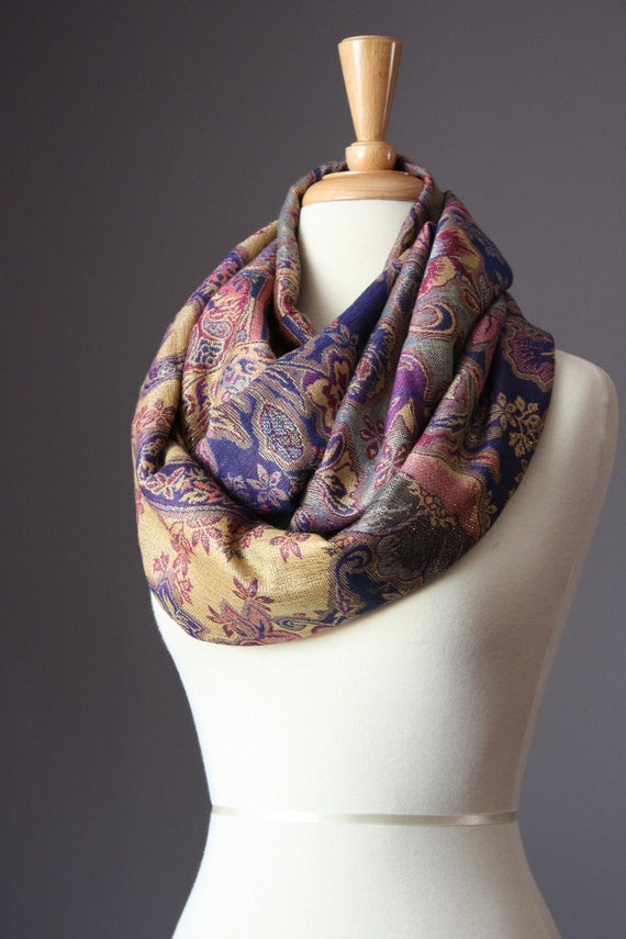 Holiday Gifts   Infinity Scarf  45% silk  Floral  paisley  Circle purple golden tones metallic women scarves