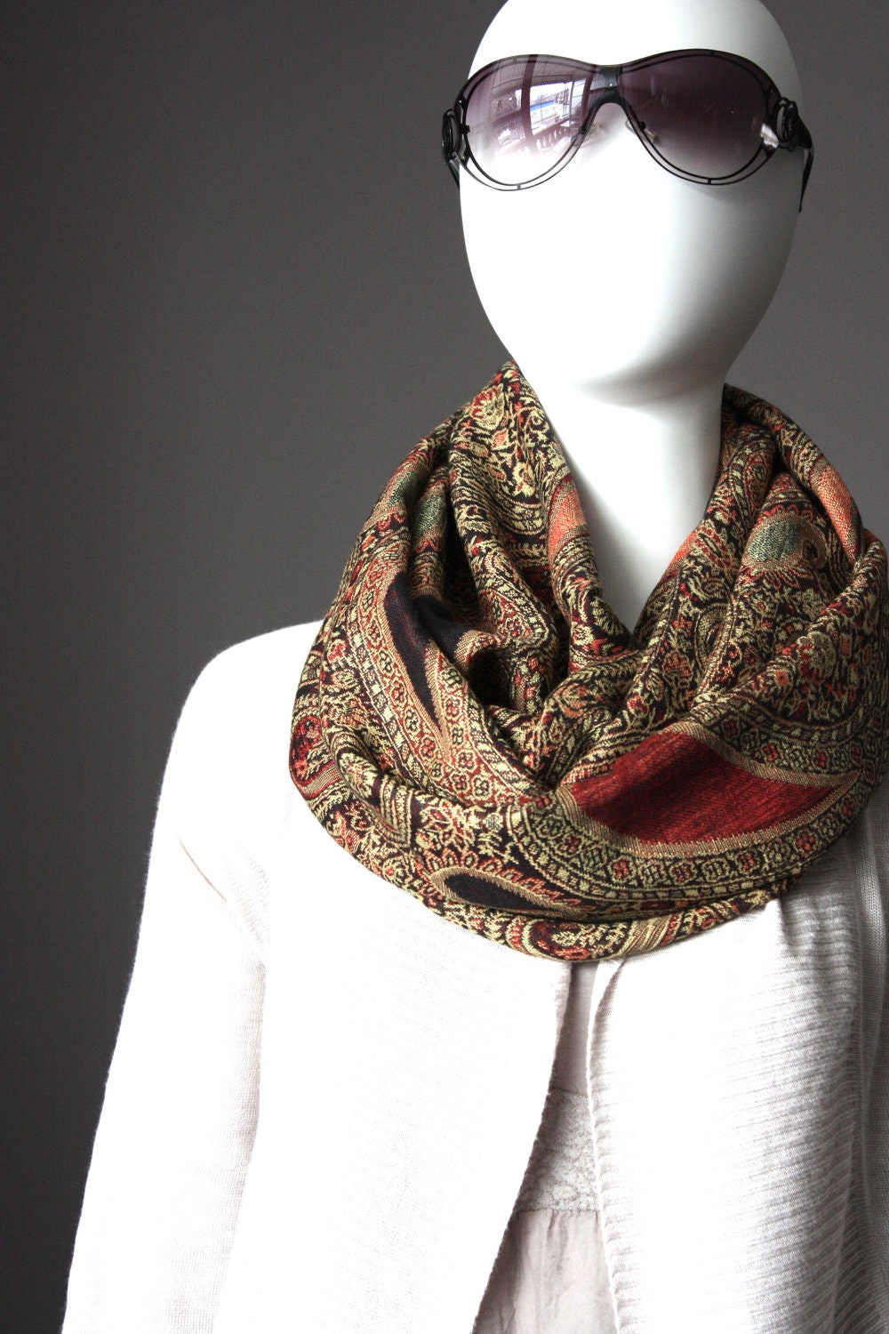 winter scarf warm scarf fall scarf paisley scarf brown