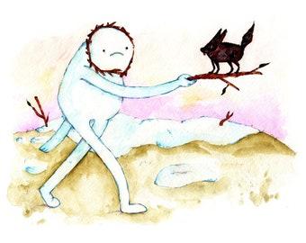 Snow Golem Firewolf Thank You Print, 8.5x11 inch inkjet print / Adventure Time Fan Art