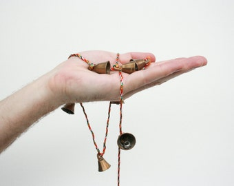 Little Brass Bells with Multicolored String