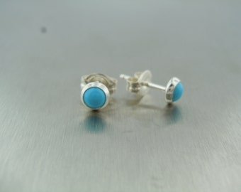 Reconstituted Turquoise Stud Earrings (4.5mm)