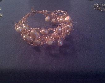 Crochet with fresh water pearls bracelet