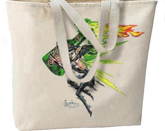 Absinthe Green Fairy New Large Tote Bag, All Purpose, Shopping, Travel