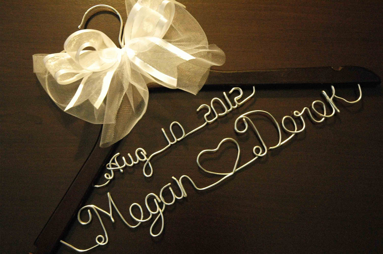 Personalized custom bridal hanger with date and bow by for Wedding dress hangers with name
