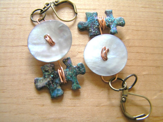 Funky Mother of Pearl Button & Puzzle Piece Earrings- Great gift idea for teens, young adults