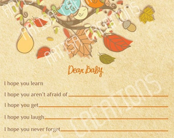 Fall Baby Shower Wishes for Baby Card  - Autumn Baby Shower WIshes for Baby - Fall Baby Shower - Autumn Baby Shower