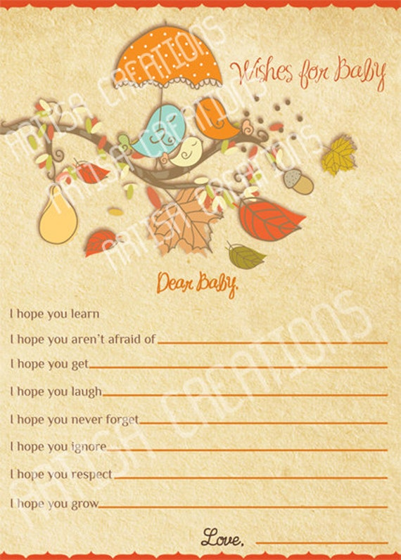 baby shower wishes for baby card autumn baby shower wishes for baby
